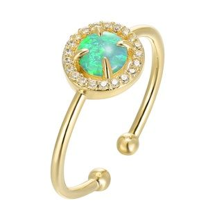 EllaB Jewelry - Adjustable Gold Plated Green Opal Ring